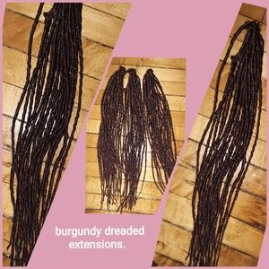 Burgundy dreaded hair extensions